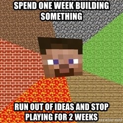 Minecraft Guy - spend one week building something run out of ideas and stop playing for 2 weeks