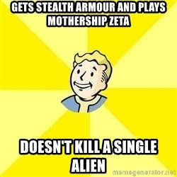 Fallout 3 - gets stealth ARMOUR and plays mothership zeta DOESN'T kill a single alien
