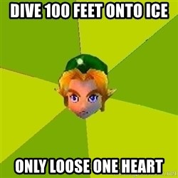 Quest Advice Link - Dive 100 feet onto ice only loose one heart