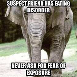 Eating Disordered Elephant  - suspect friend has eating disorder never ask for fear of exposure