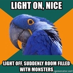 Paranoid Parrot - light on, nice light off, suddenly room filled with monsters