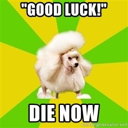 "Pretentious Theatre Kid Poodle - ""Good luck!"" die now"