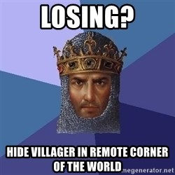 Age Of Empires - losing? hide villager in remote corner of the world