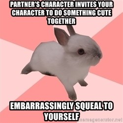 Roleplay Shipper Bunny - Partner's character invites your character to do something cute together embarrassingly squeal to yourself