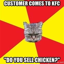 "Fast Food Feline - customer comes to kfc ""do you sell Chicken?"""