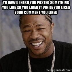 xzibit-yo-dawg - YO DAWG I HERD YOU POSTED SOMETHING YOU LIKE SO YOU LIKED IT WHILE YOU LIKED YOUR COMMENT YOU LIKED