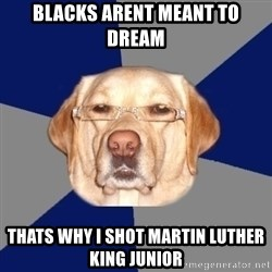 Racist Dog - Blacks Arent meant to dream thats why i shot martin luther king junior