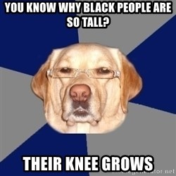 Racist Dog - you know Why black people are so tall? their knee grows