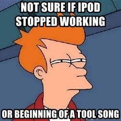 FRY FRY - not sure if ipod stopped working                or beginning of a tool song