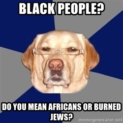 Racist Dawg - BLACK PEOPLE? DO YOU MEAN AFRICANS OR BURNED JEWS?