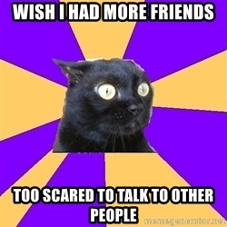 Anxiety Cat - WISH i HAD more FRIENDS too scared to talk to other people