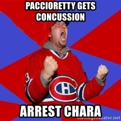 Overzealous Habs Fan Maurice - Paccioretty getS concussion arrest chara