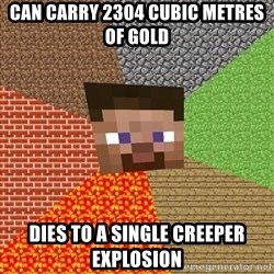 Minecraft Guy - Can carry 2304 cubic metres of gold Dies to a single creeper explosion