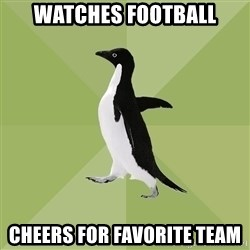 Socially Average Penguin - Watches football cheers for favorite team