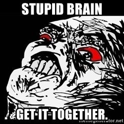 Rage Face - stupid brain get it together.