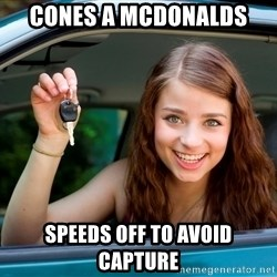 Teen Driver - cones a mcdonalds speeds off to avoid capture