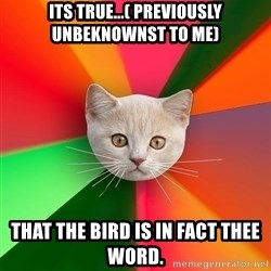 Advice Cat - its true...( previously unbeknownst to me) that the bird IS in fact thee word.