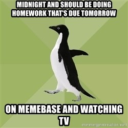 Socially Average Penguin - midnight and should be doing homework that's due tomorrow On memebase and watching tv