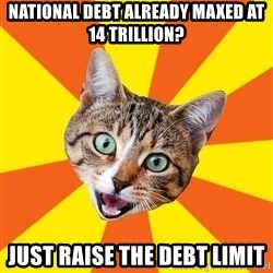 Bad Advice Cat - national debt already maxed at 14 trillion? just raise the debt limit