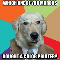 Business Dog - which one of you morons bought a color printer?