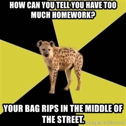 High School Hyena - how can you tell you have too much homework? your bag rips in the middle of the street.