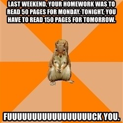 Excessively Annoyed Squirrel - Last weekend, your homework was to read 50 pages for monday. Tonight, you have to read 150 pages for tomorrow. Fuuuuuuuuuuuuuuuuuck you.