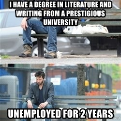 Keanu Reeves - I have a degree in literature and writing from a prestigious university Unemployed for 2 years