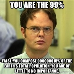 Dwight Meme - You are the 99% False. You compose.000000015% of the earth's total population. you are of little to no importance.