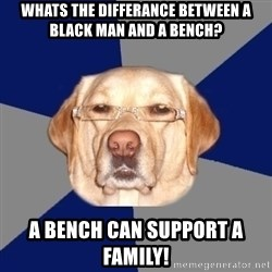 Racist Dog - WHATS THE DIFFERANCE BETWEEN A BLACK MAN AND A BENCH? A BENCH CAN SUPPORT A FAMILY!