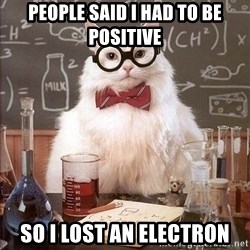 Chemistry Cat - people said i had to be positive so i lost an electron