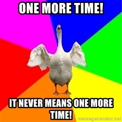 Guardgoose - One more time! It never means one more time!