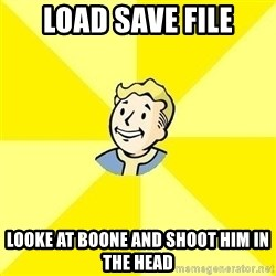 Fallout 3 - Load save file looke at boone and shoot him in the head