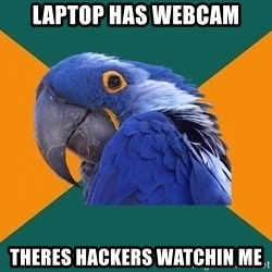 Paranoid Parrot - laptop has webcam theres hackers watchin me