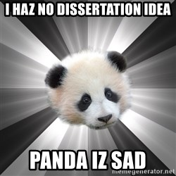 Regretting panda - i haz no dissertation idea panda iz sad