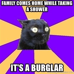 Anxiety Cat - family comes home while taking a shower it's a burglar