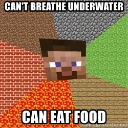 Minecraft Guy - Can't breathe underwater Can eat food
