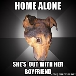 Depression Dog - home alone she's  out with her boyfriend