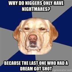 Racist Dawg - Why do niggers only have nightmares? because the last one who had a dream got shot