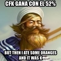 "Gangplank ""but then i ate some oranges and it was k"" - CFK gana con el 52% But then i ate some oranges and it was k"