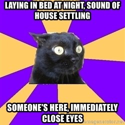 Anxiety Cat - laying in bed at night, sound of house settling someone's here, immediately close eyes
