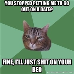 fyeahassholecat - you stopped petting me to go out on a date? fine, i'll just shit on your bed