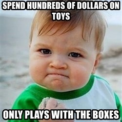Victory Baby - Spend hundreds of dollars on toys Only plays with the boxes