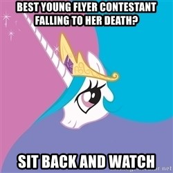Celestia - best young flyer contestant falling to her death? Sit back and watch