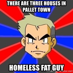 Professor Oak - There are three houses in pallet town homeless fat guy