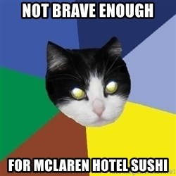 Winnipeg Cat - nOT BRAVE ENOUGH FOR mclaren hotel SUSHI