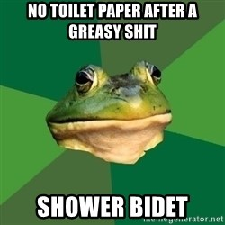 Foul Bachelor Frog - no toilet paper after a greasy shit shower bidet