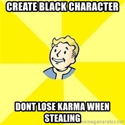 Fallout 3 - create black character dont lose karma when stealing