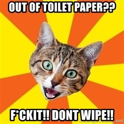 Bad Advice Cat - OUt of toilet paper?? F*ckiT!! dont wipe!!