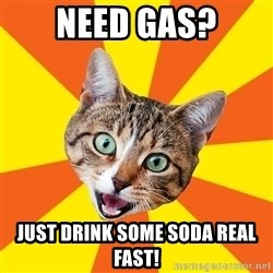 Bad Advice Cat - NEED GAS? JUST DRINK SOME SODA REAL FAST!