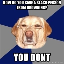 Racist Dog - HOW DO YOU SAVE A BLACK PERSON FROM DROWNING? YOU DONT